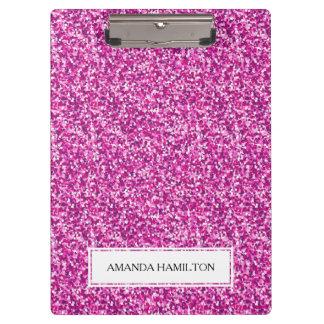 贅沢なショッキングピンクのグリッターはあなたの名前を加えます クリップボード