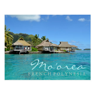 贅沢なバンガローが付いているフランス領ポリネシアのMoorea ポストカード