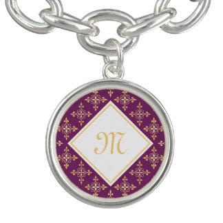 贅沢なモノグラムの紫色および金ゴールドのQuatreの花柄 チャームブレスレット