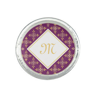 贅沢なモノグラムの紫色および金ゴールドのQuatreの花柄 リング
