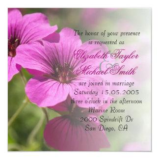 贅沢な春のCranesbillの庭園の結婚式の招待 カード