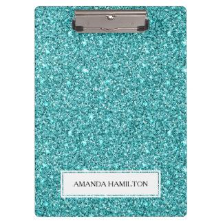 贅沢な淡いブルーのグリッターはあなたの名前を加えます クリップボード