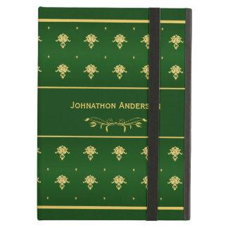贅沢な緑および金ゴールドのヴィンテージのダマスク織の本パターン iPad AIRケース