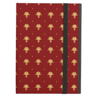 贅沢な赤および金ゴールドのヴィンテージのダマスク織パターン iPad AIRケース