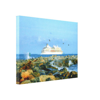 贅沢な遊航船との海景 キャンバスプリント