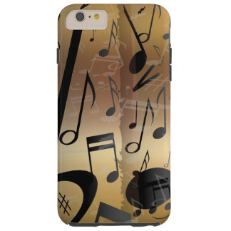 贅沢な金ゴールドおよび黒い音楽ノート TOUGH iPhone 6 PLUS ケース