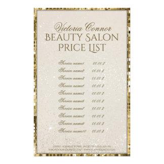 贅沢な金ゴールドのきらめくの美容院の値段表のフライヤ 14CM X 21.6CM チラシ