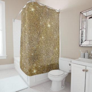 贅沢な金ゴールドのグリッター-印書イメージ シャワーカーテン
