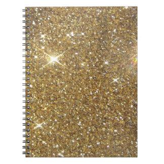 贅沢な金ゴールドのグリッター-印書イメージ ノートブック