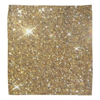 贅沢な金ゴールドのグリッター-印書イメージ バンダナ
