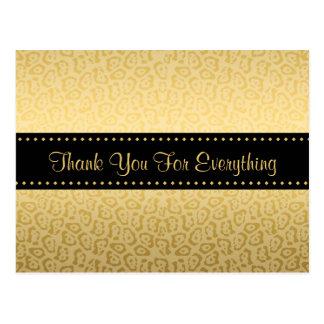 贅沢な黒および金ゴールドのジャガーのプリントありがとう はがき