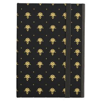 贅沢な黒および金ゴールドのヴィンテージのダマスク織パターン iPad AIRケース