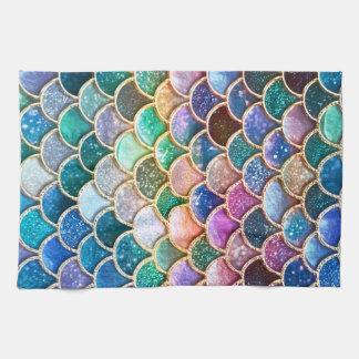贅沢のsummerly多彩なグリッターの人魚のスケール キッチンタオル