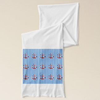 赤いいかりおよび青または白のストライプ スカーフ