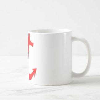 赤いいかりのデザイン コーヒーマグカップ