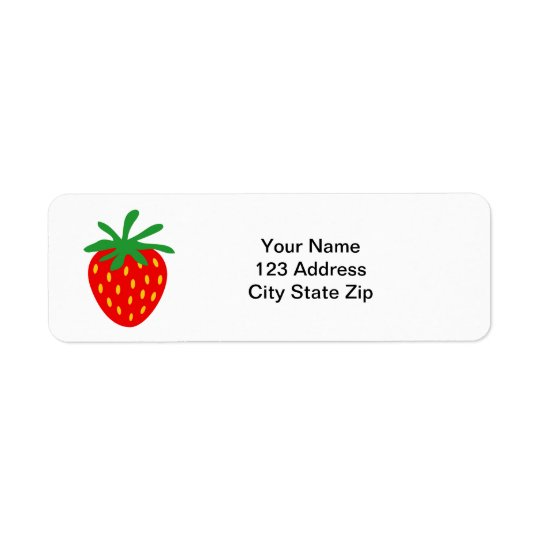 赤いいちごアイコンカスタムの差出人住所ラベル ラベル