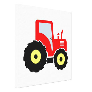 赤いおもちゃのトラクター キャンバスプリント