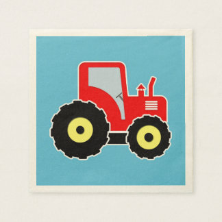 赤いおもちゃのトラクター スタンダードカクテルナプキン