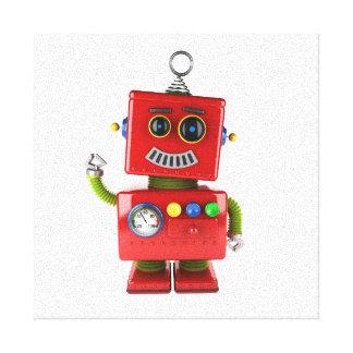 赤いおもちゃのロボット振るこんにちは キャンバスプリント