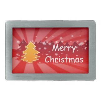 赤いおよびオレンジクリスマスツリーのベルトの留め金 長方形ベルトバックル