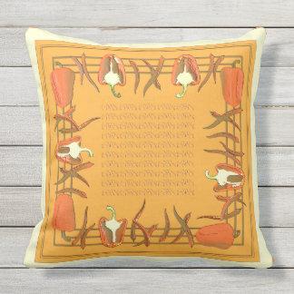 赤いおよびオレンジコショウは枕#3を設計しました アウトドアクッション