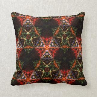 赤いおよびオレンジ色のライトの万華鏡のように千変万化するパターンの装飾用クッション クッション