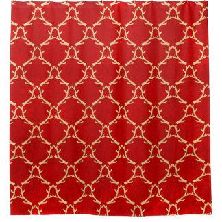 赤いおよびベージュ森林枝角のシャワー・カーテン シャワーカーテン
