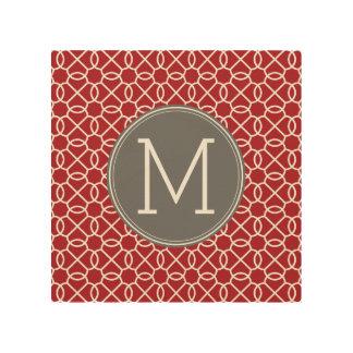 赤いおよび灰色の幾何学的なパターンモノグラム ウッドウォールアート