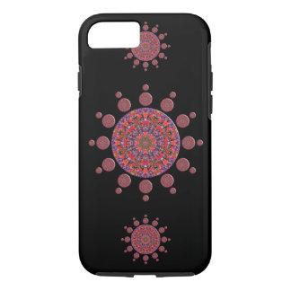 赤いおよび紫色のチューリップの曼荼羅のフラクタル iPhone 8/7ケース