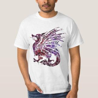 赤いおよび紫色のドラゴンのTシャツ Tシャツ