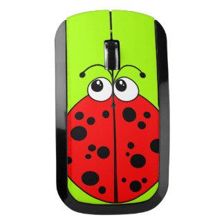 赤いおよび緑おもしろいのてんとう虫 ワイヤレスマウス