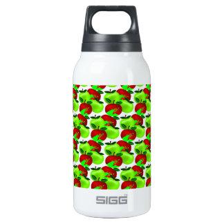 赤いおよび緑のりんごの材料見本パターン 断熱ウォーターボトル