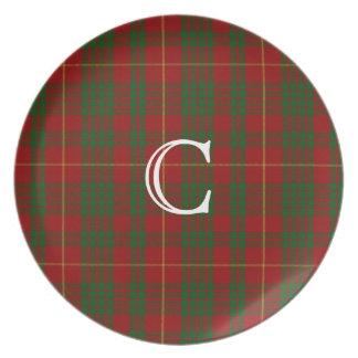 赤いおよび緑のカメロンのモノグラムのタータンチェック格子縞のプレート プレート