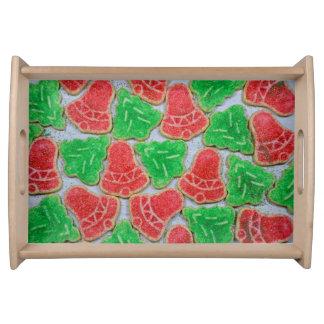 赤いおよび緑のクリスマスのクッキー トレー