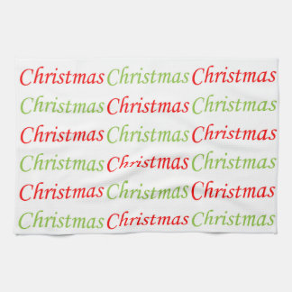 赤いおよび緑のクリスマスの文字 キッチンタオル
