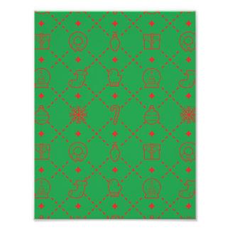 赤いおよび緑のクリスマスの記号の継ぎ目が無いパターン フォトプリント