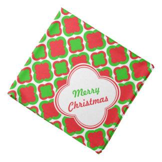 赤いおよび緑のクローバーパターンクリスマス バンダナ