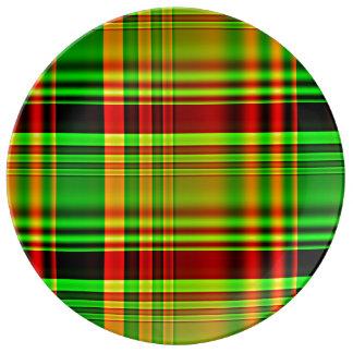 赤いおよび緑のタータンチェック格子縞 磁器プレート