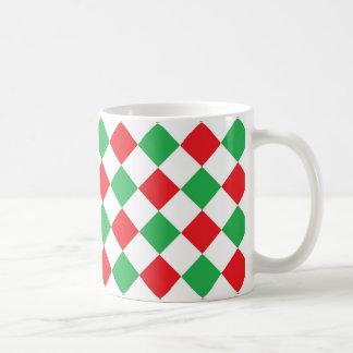 赤いおよび緑のダイヤモンド コーヒーマグカップ