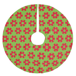 赤いおよび緑のヴィンテージパターンクリスマスツリーのスカート ブラッシュドポリエステルツリースカート