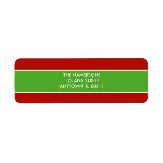 赤いおよび緑の差出人住所ラベル 返信用宛名ラベル