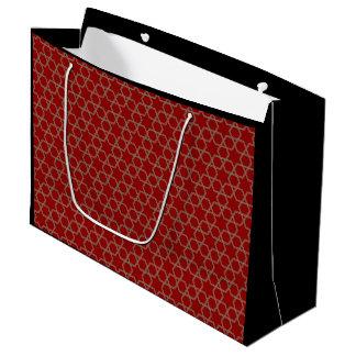 赤いおよび緑の幾何学的で抽象的なパターン ラージペーパーバッグ