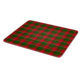 赤いおよび緑の格子縞の生地の背景 カッティングボード