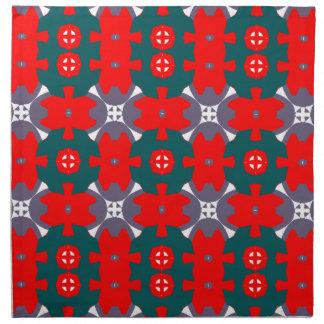 赤いおよび緑の格子縞 ナプキンクロス