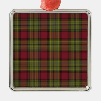 赤いおよび緑の格子縞 メタルオーナメント