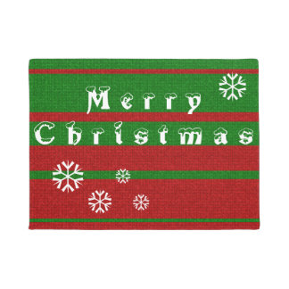 赤いおよび緑の編み物のメリークリスマスの休日 ドアマット