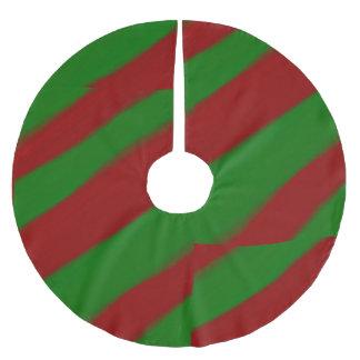 赤いおよび緑の縞模様のクリスマスツリーのスカート ブラッシュドポリエステルツリースカート