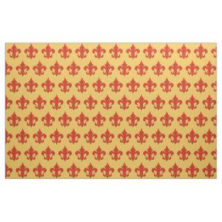 赤いおよび緑の(紋章の)フラ・ダ・リの生地 ファブリック