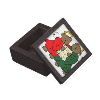 赤いおよび緑ローブの歌うテディー・ベアの天使 ギフトボックス