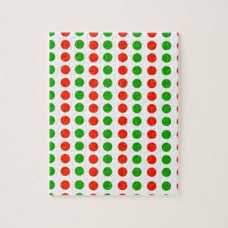 赤いおよび緑水玉模様 ジグソーパズル